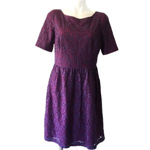 Adrianna Papell Purple Pink Lace Overlay Dress 12